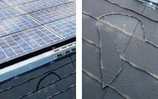 他社の施工により不自然な屋根の割れ方をしている例