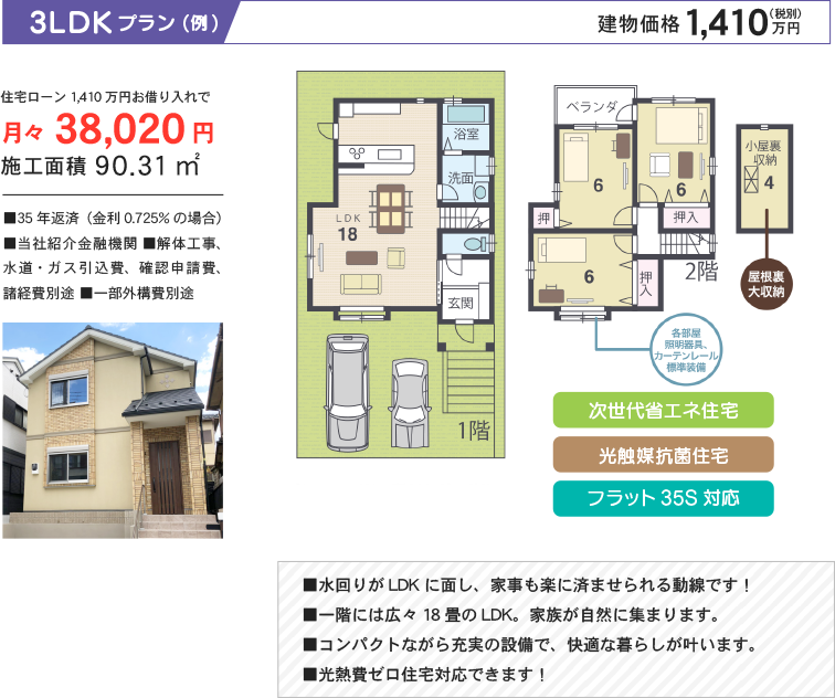 3LDKプラン(例) 建物価格1,410万円(税別)